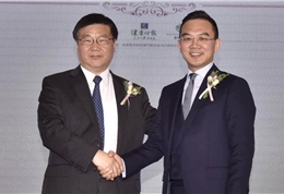 郎永淳和盛诺一家董事长蔡强合影